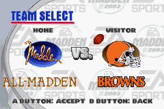Madden NFL 2003 Game Boy Advance Pick your teams