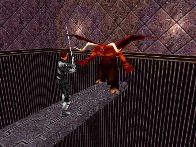 King's Quest: Mask of Eternity Windows Fighting a red demon on a bridge! Armor upgraded once again