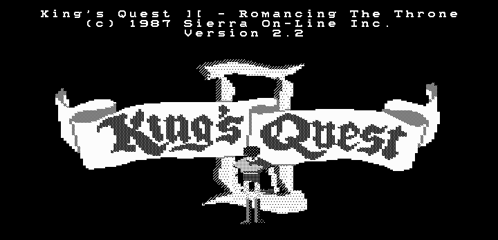 King's Quest II: Romancing the Throne DOS Title screen (Hercules graphics)
