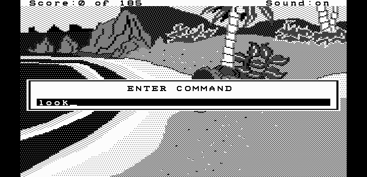 King's Quest II: Romancing the Throne DOS Entering a command. (Hercules graphics)