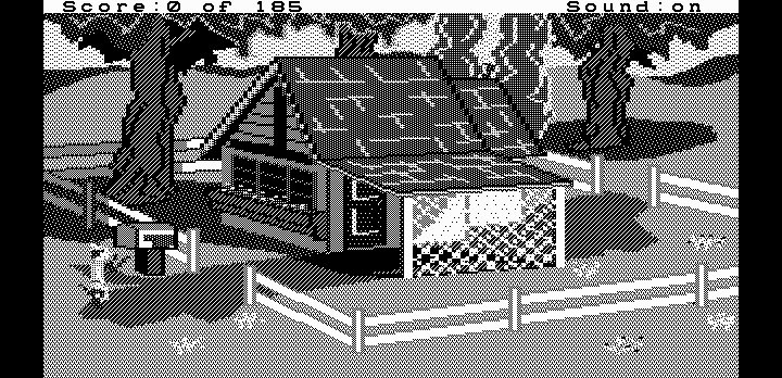 King's Quest II: Romancing the Throne DOS A beautiful cottage (Hercules graphics)