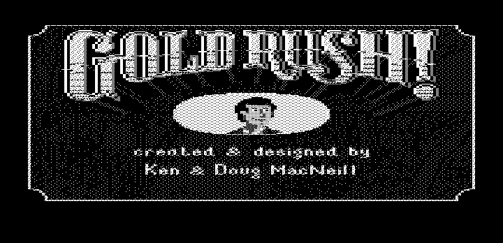 Gold Rush! DOS Title screen with credits (Hercules graphics)