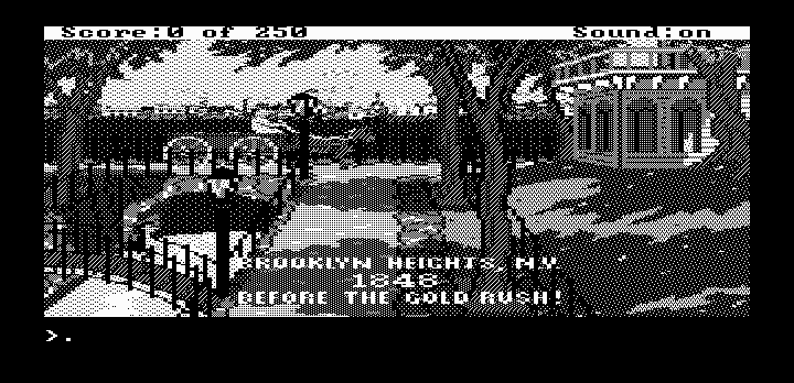 Gold Rush! DOS Game beginning (Hercules graphics)