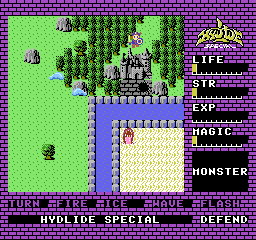 Hydlide NES Outside a castle with a dungeon