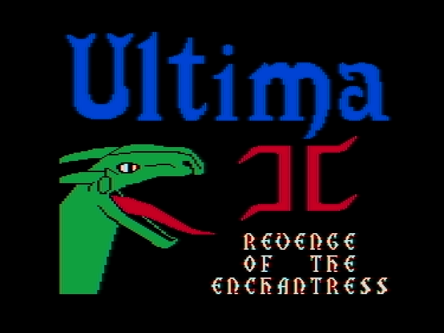Ultima II: The Revenge of the Enchantress... DOS The title screen (CGA with composite monitor)