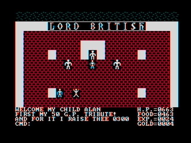 Ultima II: The Revenge of the Enchantress... DOS Lord British will sell you hit points in exchange for gold, but he won't do jack for you if you're poor. Seems compassion hasn't been invented yet. (CGA with composite monitor)