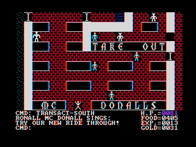 Ultima II: The Revenge of the Enchantress... DOS Buying some fast food at 'McDonalls' (CGA with composite monitor)
