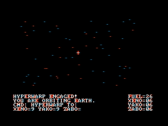 Ultima II: The Revenge of the Enchantress... DOS Space travel is much simpler than in Ultima I, as you don't have to worry about station docking or space battles. Don't run out of fuel, though. (CGA with composite monitor)