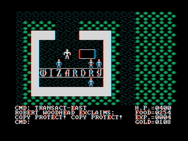 Ultima II: The Revenge of the Enchantress... DOS Most of game's dialogue consists of random gibberish or bizarre 80's in-jokes. Here's a Wizardry reference (CGA with composite monitor)