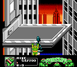 Teenage Mutant Ninja Turtles III: The Manhattan Project NES Mike asks for help from a passer-by