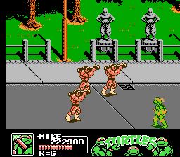 Teenage Mutant Ninja Turtles III: The Manhattan Project NES Krang has an army of rock soldiers to protect him