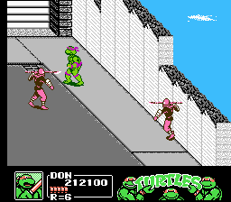 Teenage Mutant Ninja Turtles III: The Manhattan Project NES Foot Clan Harpoon soldiers attack!