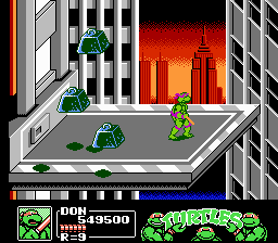 Teenage Mutant Ninja Turtles III: The Manhattan Project NES Heavy objects thrown at an elevator attached to the side of a building