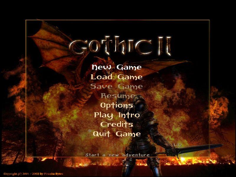 Gothic II Windows Main Menu