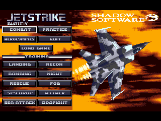 Jetstrike DOS The title screen.