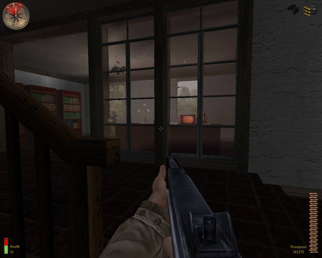 Medal of Honor: Allied Assault Windows Fighting inside a house, jerrys hiding behind the desk