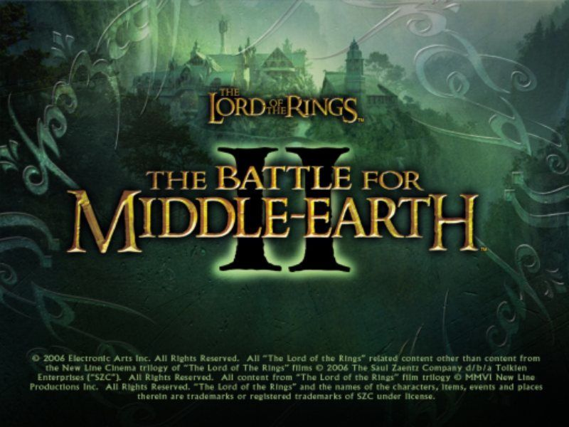 The Lord of the Rings: The Battle for Middle Earth II Windows Title screen