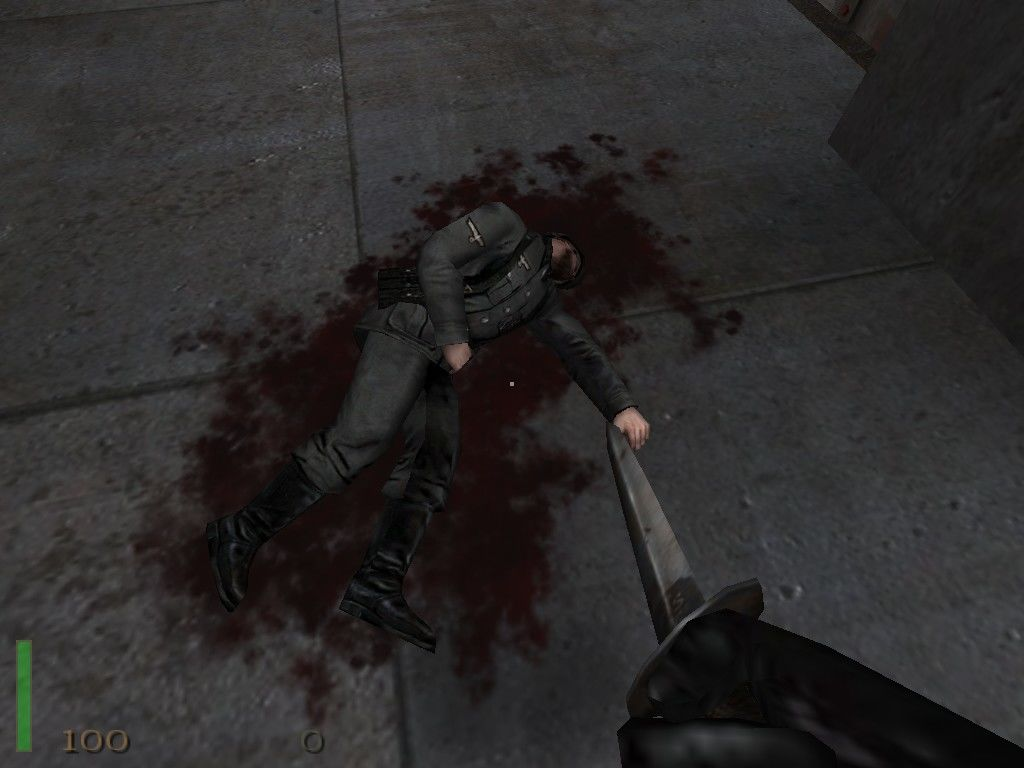 Return to Castle Wolfenstein Windows When you get lost and are bored, kick the corpses, they bleed!