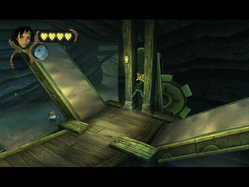 Beyond Good & Evil Windows Climbing between the pillars, Jade activates the bridge. Pey'j is waiting at the bottom
