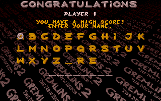 Gremlins 2: The New Batch Atari ST High score entry
