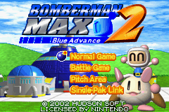 Bomberman Max 2: Blue Advance Game Boy Advance Title screen / Main menu.