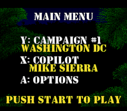 Jungle Strike SNES Main menu