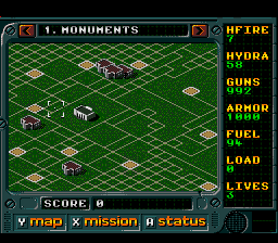 Jungle Strike SNES Mission map