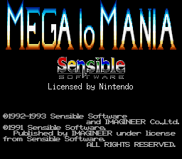 Mega lo Mania SNES Title screen