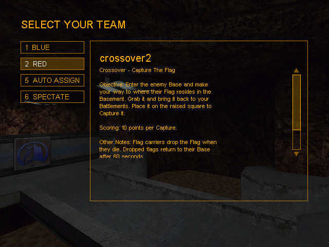 Team Fortress Classic Windows selection screen in team fortress