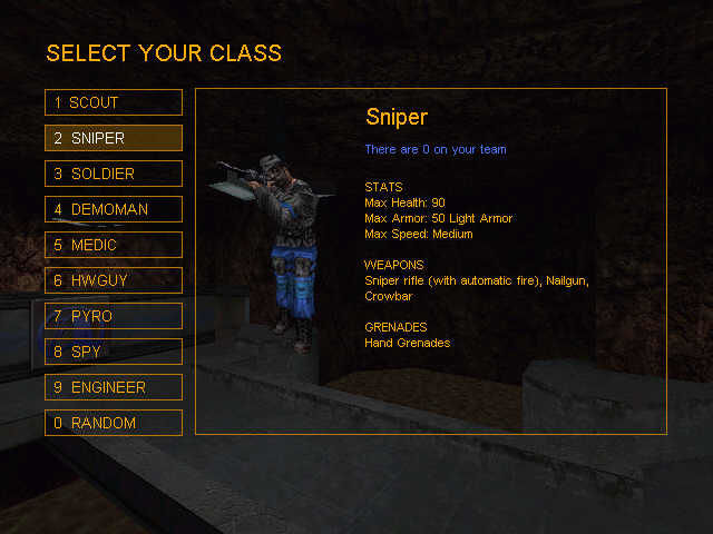 Team Fortress Classic Windows class selection