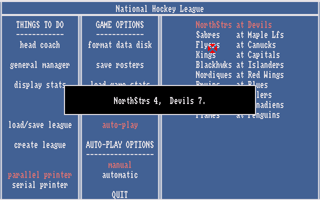Hockey League Simulator Amiga Auto-play report