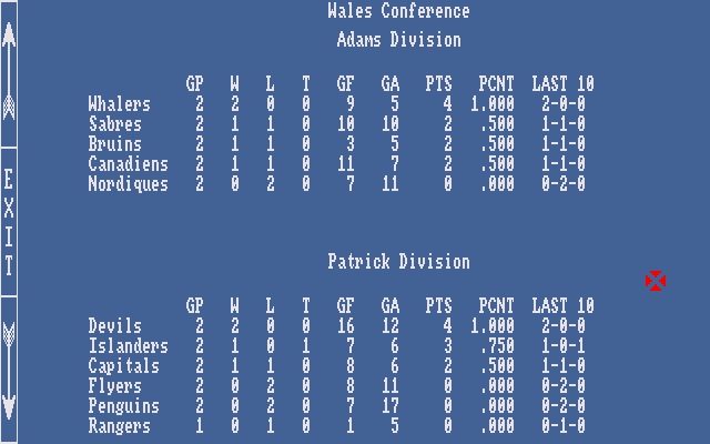 Hockey League Simulator Amiga League Standings