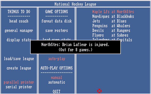 Hockey League Simulator Amiga Player injured report