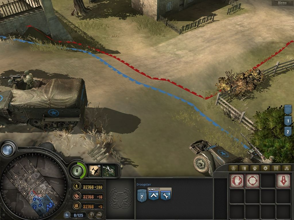 Company of Heroes Windows The colored lines indicate where my territory ends (blue) and the Axis territory begins.
