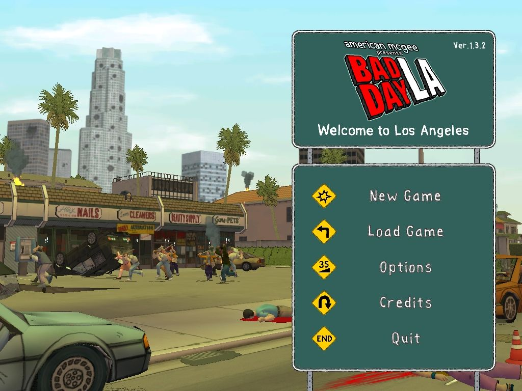 American McGee presents Bad Day LA Windows The main menu.