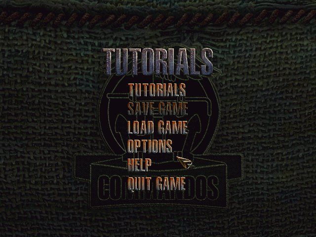 Commandos: Beyond the Call of Duty Windows Main Menu (Tutorials shows you info about the each soldier and what he can do, and also consists of couple of training sessions)