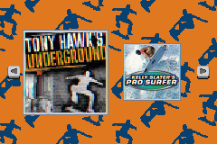 Tony Hawk's Underground & Kelly Slater's Pro Surfer Game Boy Advance Game selection.
