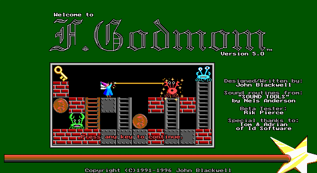 F.Godmom DOS Title screen