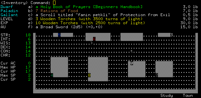 Angband Windows The inventory.