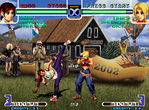 The King of Fighters 2002: Challenge to Ultimate Battle Neo Geo When tries to hit Mary with her kick move Shouyoku, Yuri shows the range of her corporal elasticity!