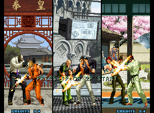 The King of Fighters 2002: Challenge to Ultimate Battle Neo Geo Introduction frame: Art of Fighting Team (Ryo/Robert/Takuma) beats '00 Team (Seth/Ramon/Vanessa)...