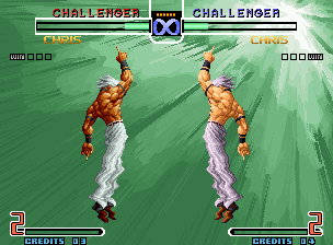 The King of Fighters 2002: Challenge to Ultimate Battle Neo Geo 1P and 2P Orochi Chris executing simultaneously their morphing HSDMs: Orochi is back for a while...