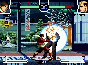 The King of Fighters 2002: Challenge to Ultimate Battle Neo Geo Kensou walks near Ryuji Yamazaki and attacks him with the full power of his 5-hit SDM Senki Hakkei!