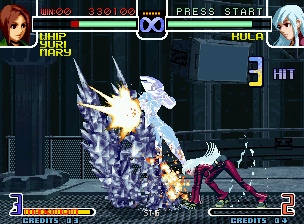 The King of Fighters 2002: Challenge to Ultimate Battle Neo Geo Taking advantage of Whip's open guard, Kula strikes back with 3 frozen hits of her DM Diamond Edge.