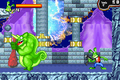 Jazz Jackrabbit Game Boy Advance First boss.