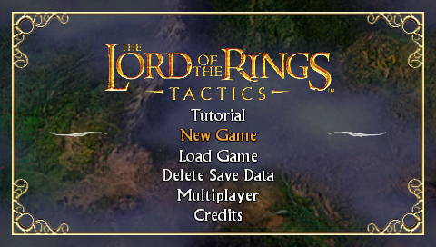 The Lord of the Rings: Tactics PSP Main menu