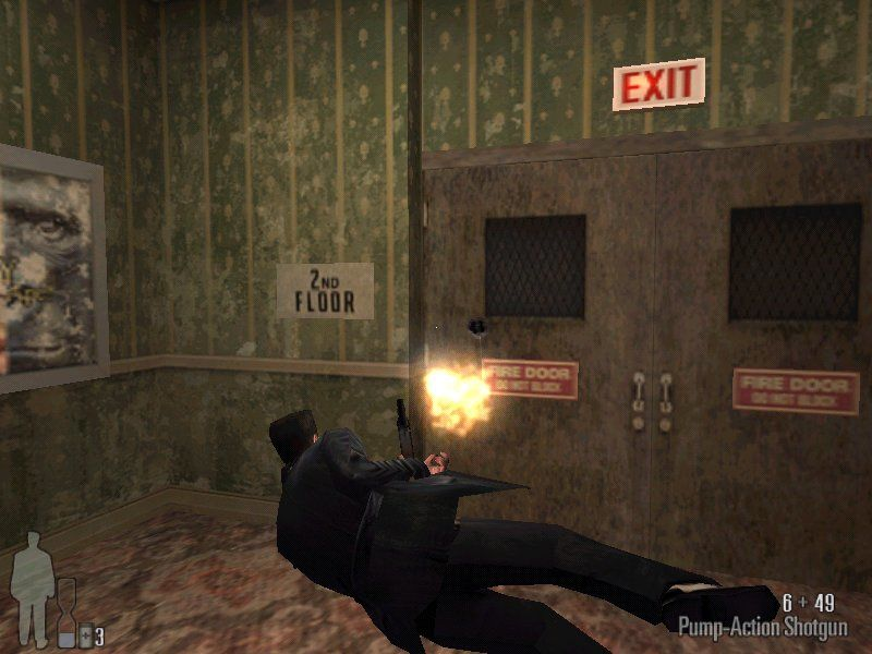 Max Payne Windows Max Payne against the exit doors, and he looses, hehe. Guess you'll have to find other way around afterall.