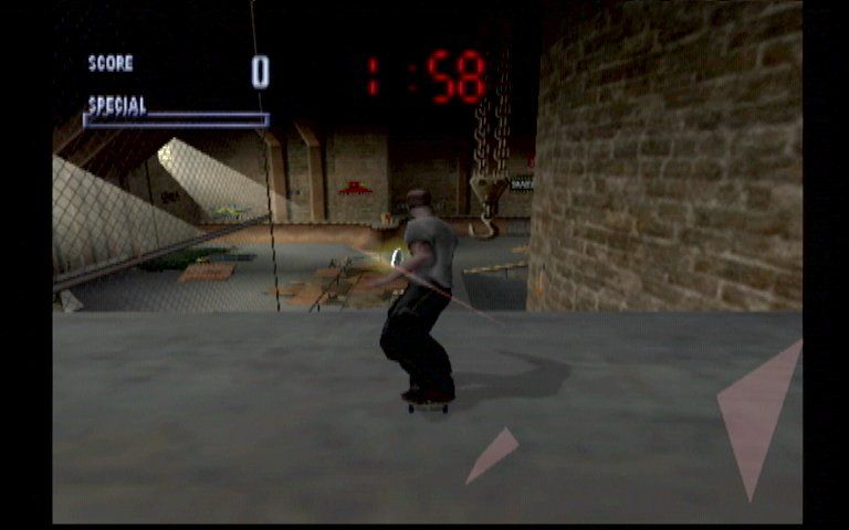 Tony Hawk's Pro Skater Dreamcast Smashing Through a Window in the Warehouse