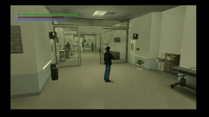 Rise to Honor PlayStation 2 There are lots of breakable items in the hospital, including those guys ahead.