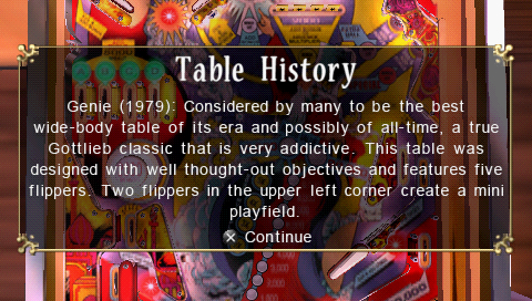 Pinball Hall of Fame: The Gottlieb Collection PSP Table history screen